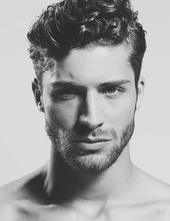 Thick-short-curly-hairstyle-for-men-with-stubble-beard - Mens ...